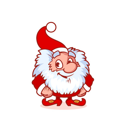 dwarf costume: Smiling Christmas gnome in red costume. Funny cartoon character. clip-art illustration. Illustration