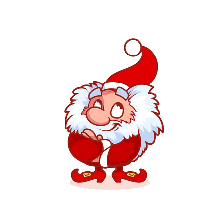 helper: Satisfied Christmas gnome in red costume. Funny cartoon character. clip-art illustration.