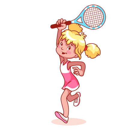 tennis racquet: Cartoon girl playing tennis. clip art illustration on a white background.