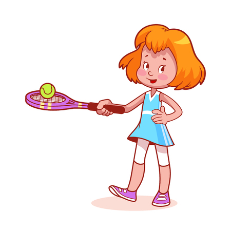 jugando tenis: Muchacha de la historieta que juega a tenis. imágenes prediseñadas ilustración sobre un fondo blanco. Vectores
