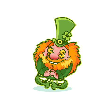Funny Leprechaun in green costume with gold fever. Cartoon character. Vector clip-art illustration.