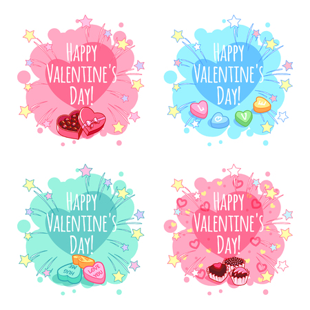 holiday border: Set of four badge for Valentines Day. template. Vector clip-art on a white background.