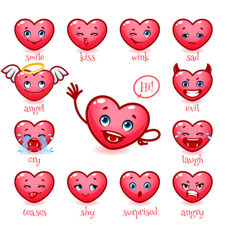 teases: Set of emoticons funny heart. Smile, kiss, wink, sad, evil, cry, laugh, teases, shy, surprised, angry. Vector icons on a white background.
