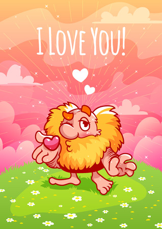dwarf: Cute Valentine red dwarf blows a kiss. Painting for Valentines Day I love you!. A4 vertical orientation.