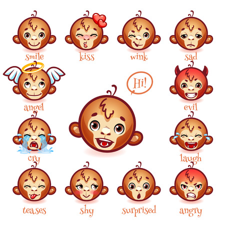 teases: Set of emoticons funny monkey. Smile, kiss, wink, sad, evil, cry, laugh, teases, shy, surprised, angry. Vector icons on a white background.