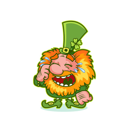 pixie: Laughing Leprechaun in green costume. Funny cartoon character. Vector clip-art illustration.