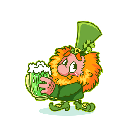 Shy Leprechaun in green costume with mug green beer. Funny cartoon character. Vector clip-art illustration. 向量圖像