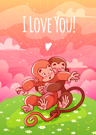 enchantment: Two enamored monkeys hugging on the lawn. Card for Valentines Day: I love you!. A4 format vertical orientation