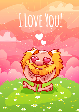 lawn gnome: Cute enamored red gnome on the lawn. Card for Valentines Day: I love you!. A4 format vertical orientation