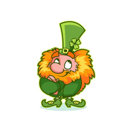 excitation: Satisfied Leprechaun in green costume. Funny cartoon character. Vector clip-art illustration. Illustration