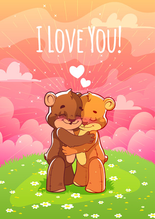 enamored: Two enamored bear hugging on the lawn. Card for Valentines Day: I love you!. A4 format vertical orientation