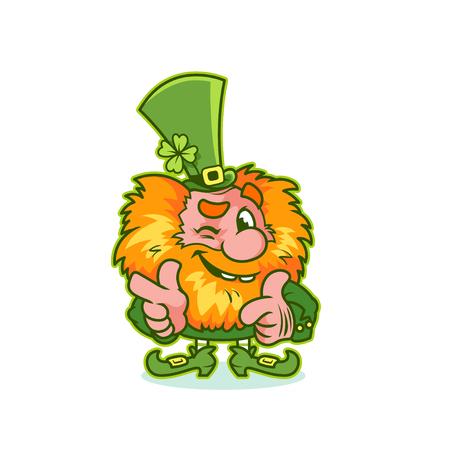 cartoon shamrock: Winking Leprechaun in green costume. Funny cartoon character. Vector clip-art illustration.