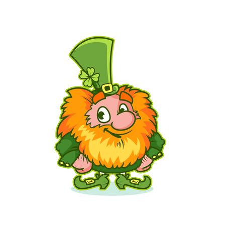 Smiling Leprechaun in green costume. Funny cartoon character. Vector clip-art illustration.