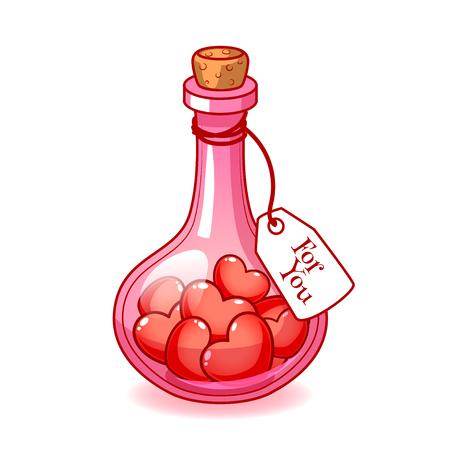 wine  pink: Stoppered pink  glass bulb with a lot of hearts inside. On the bottle label with the inscription For You. Vector clip-art illustration on a white background. Illustration