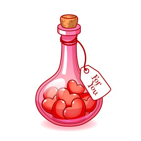 """elixir: Tapón bulbo de cristal de color rosa con un montón de corazones dentro. En la etiqueta de la botella con la inscripción """"For You"""". Vector clip-art ilustración sobre un fondo blanco. Vectores"""