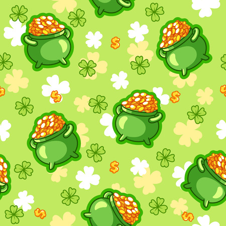 pot of gold: Seamless pattern with a pot of gold four-leaf clover and a dollar sign in green tones. The pattern for St. Patricks Day. Vector illustration.