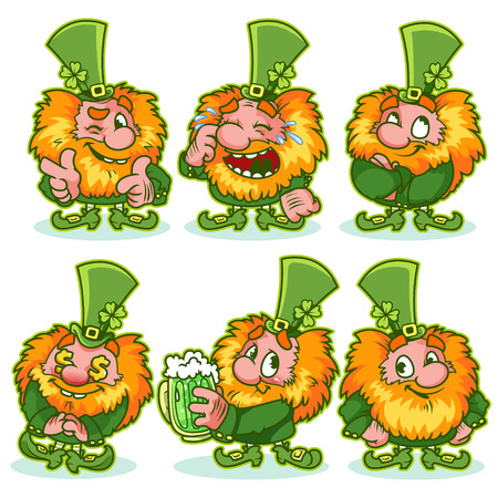 Set of funny red-haired gnome in green costume. Funny cartoon character on a white background. Shaggy leprechaun celebrating St Patricks Day. Laughing, winking, satisfied and shy leprechauns.