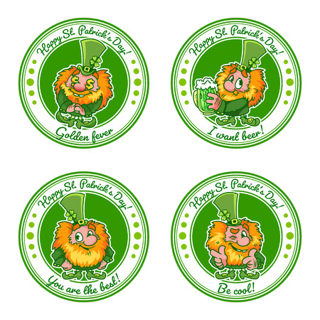 Set of four round stickers with leprechauns for St. Patricks Day with a positive text: Youre the best!, Be cool!, I want beer! and Gold Rush. Four funny leprechaun on circular badges.