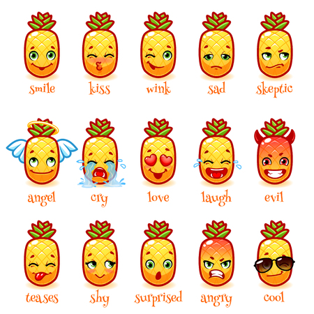 facial: Set of emoticons funny pineapple. Smile, kiss, wink, sad, skeptic, evil, cry, laugh, teases, shy, surprised, angry, cool and in love. Vector icons on a white background.