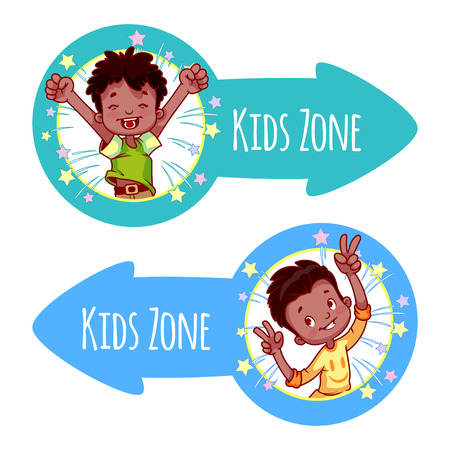 Two pointer for Kids Zone in the form of blue arrows. Banners with portraits of happy children. Vector clip-art illustration on a white background.