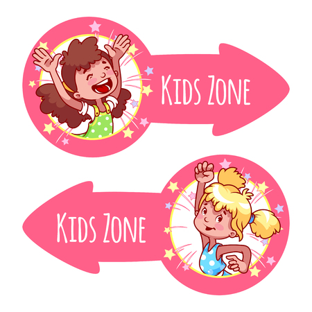 papoose: Two pointer for Kids Zone in the form of pink arrows. Banners with portraits of happy children. Vector clip-art illustration on a white background.