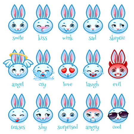 teases: Set of emoticons funny rabbit. Smile, kiss, wink, sad, skeptic, evil, cry, laugh, teases, shy, surprised, angry, cool and in love. Vector icons on a white background. Illustration