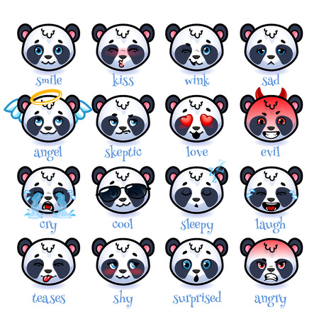 teases: Set of emoticons funny pandas. Smile, kiss, wink, sad, skeptic, evil, cry, laugh, teases, shy, surprised, angry, cool, sleepy and in love. Vector icons on a white background.