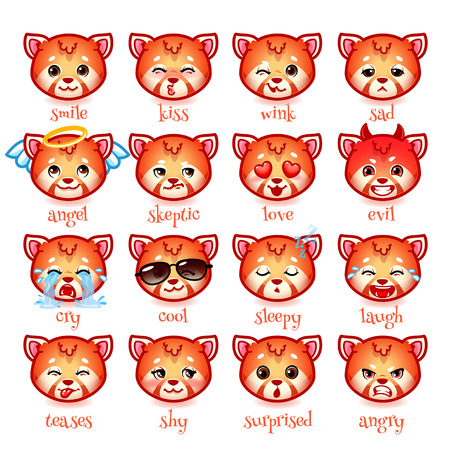 teases: Set of emoticons funny red pandas. Smile, kiss, wink, sad, skeptic, evil, cry, laugh, teases, shy, surprised, angry, cool, sleepy and in love. Vector icons on a white background. Illustration