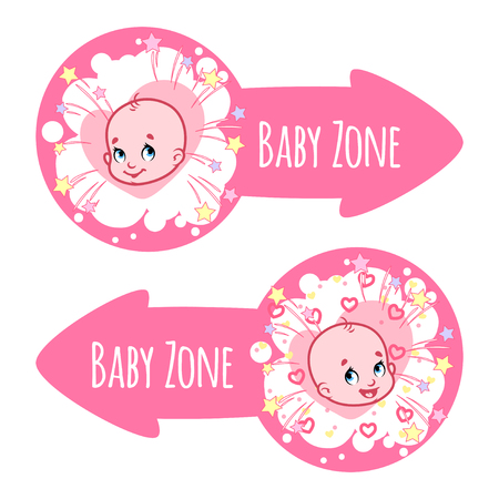 papoose: Two pointer for Baby Zone in the form of pink arrows. Banners with portraits of babies. Vector clip-art illustration on a white background.