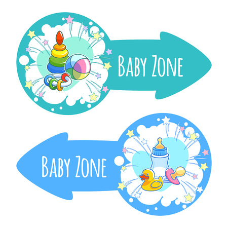 papoose: Two pointer for Baby Zone in the form of blue arrows. Banners with baby toys, milk bottle, yellow duck and pacifier. Vector clip-art illustration on a white background.