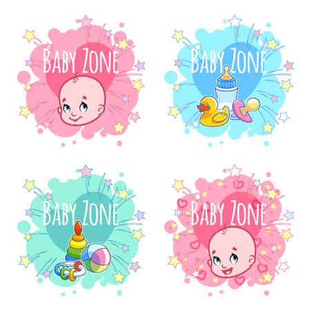 """Conjunto de cuatro banderas """"Baby Zone"""", con retratos de bebés y juguetes para niños. Cuatro pegatinas en forma de manchas en colores pastel. plantilla de la etiqueta del vector en un fondo blanco."""