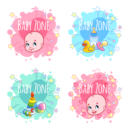 game boy: Set of four banners Baby Zone with portraits of infants and childrens toys. Four stickers in the form of blots in pastel colors. Vector label template on a white background.