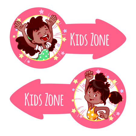 Two pointer for Kids Zone in the form of pink arrows. Banners with portraits of happy children. Vector clip-art illustration on a white background.