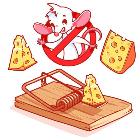 rata caricatura: rat�n blanco lindo dentro se�al de prohibici�n rojo con queso y ratonera. personaje de dibujos animados sobre fondo blanco.