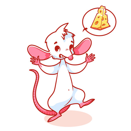 Cute white mouse fearfully raised paws up. Cartoon character isolated on a white background. Иллюстрация