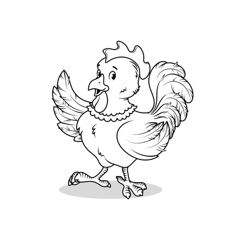 pompous: Funny rooster raised one wing up. cartoon character on a white background.