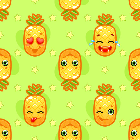 orange fruit: Seamless pattern with jolly pineapple on a green background. background for kids. Illustration