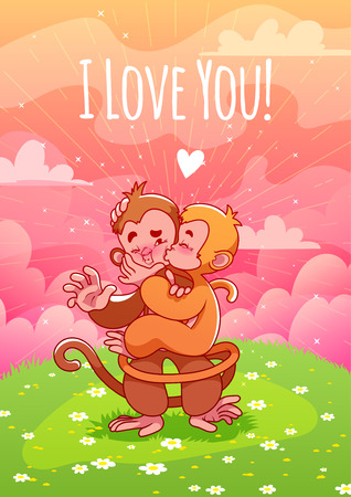 lovers kissing: Two cute lovers monkeys kissing on the green lawn. Greeting card with inscription I love you!. A4 format, vertical orientation. Pink clouds, sunny day, a lawn with flowers. Illustration
