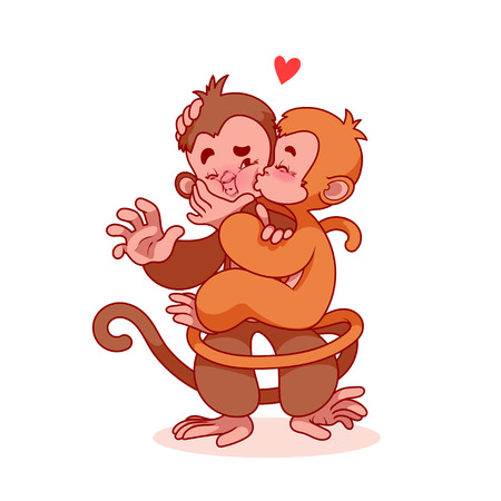 innamorati che si baciano: Due amanti scimmie si baciano. personaggio dei cartoni animati carino per biglietto di auguri per San Valentino. Scimmie isolate su uno sfondo bianco.