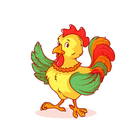 pompous: Colorful rooster raised one wing up. cartoon character on a white background.
