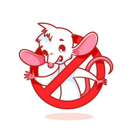 exterminate: Cute white mouse inside red prohibitory sign. cartoon character on white background.