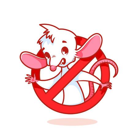 rata caricatura: Rat�n blanco lindo dentro se�al de prohibici�n rojo. personaje de dibujos animados sobre fondo blanco.
