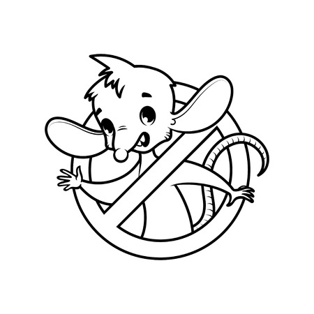 vermin: Cute mouse inside prohibitory sign. cartoon character on white background.