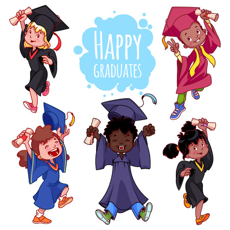 teenagers learning: Very happy kids. Graduates in gowns and with a diploma in hand. Set of cartoon characters on white background. Illustration