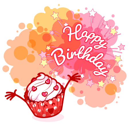 blobs: Greeting card Happy Birthday with very happy cupcake. Pink blobs on white background. template greeting card. Illustration