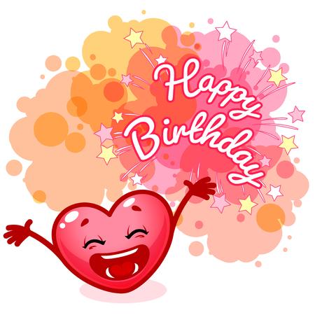 Wenskaart Gelukkige Verjaardag met een zeer gelukkig hart. Roze blobs op witte achtergrond. sjabloon wenskaart.