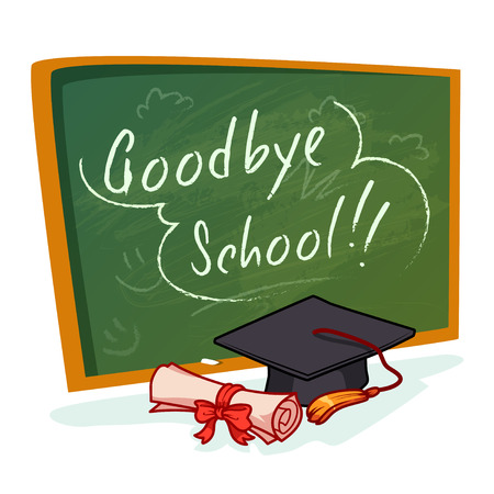 graduation gown: Green school board with inscription Goodbye school. Graduation cap and diploma. cartoon illustration on a white background.