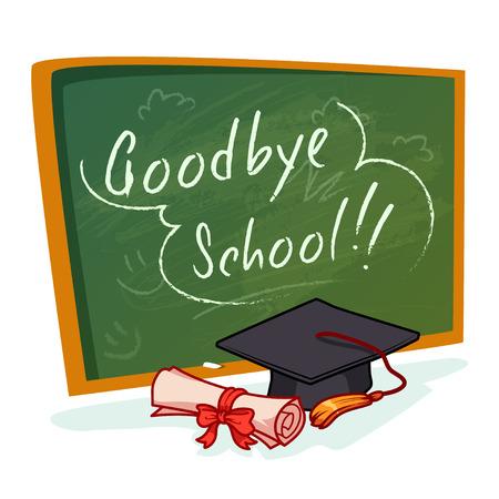 toga graduacion: Tarjeta de escuela verde con la inscripción de la escuela adiós. Casquillo y diploma. ilustración de dibujos animados sobre un fondo blanco.