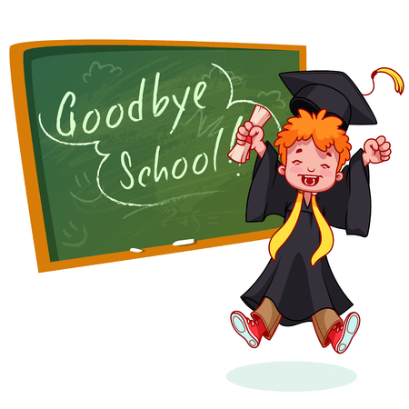 graduation gown: Very happy boy. Graduate in gown and with a diploma in hand near the school board. cartoon character on white background.