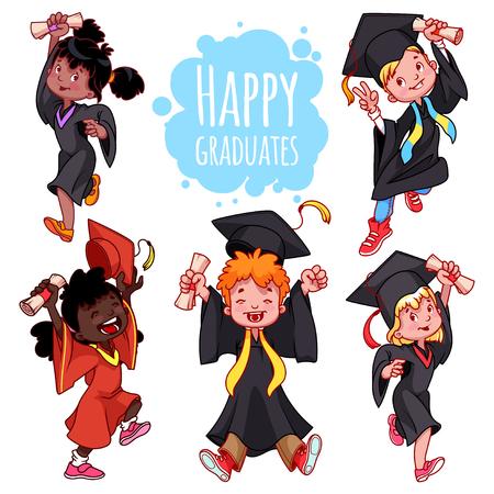 graduacion caricatura: niños muy feliz. Los graduados en vestidos y con un diploma en la mano. Conjunto de personajes de dibujos animados sobre fondo blanco.
